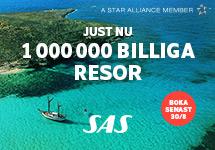 Just nu! 1 000 000 billiga resor med SASPassa på att boka din flygresa nu! Boka senast 30 augusti!