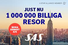 1 000 000 billiga resor med SASBoka din sommarsemester redan idag! Oavsett storstadsresa eller solsemester, weekend eller långresa så kan du resa billigt tillsammans med Sembo och SAS.