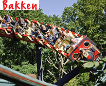 Bakken (Dyrehavsbakken) Danmarks roligaste och världens äldsta nöjespark med fler än 130 attraktioner från berg och dalbana till skjutbanor. Öppetider: april - augusti.