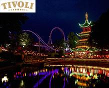 Tivoli Stor nöjespark i Köpenhamn i Danmark med attraktioner, restauranger och konserter. Biljetter säljs tillsammans med boende. Öppetider: april - december.